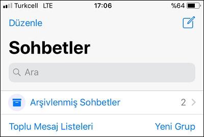 Iphone 5s whatsapp konuşma bölümünde bul seçeneği var mı varsa nerde?